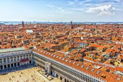 Piazza San Marco and Venice roofs, panoramic view royalty free stock image