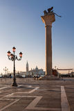 Piazza San Marco and Winged Lion Column in the Morning, Venice, Stock Images