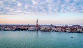 Piazza San Marco, Zonsondergang, Venetië, Italië Stock Fotografie