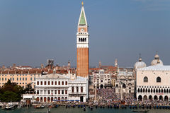 Piazza San Marcos. In Venice, Italy with its famous bell tower and Basilica Royalty Free Stock Photo