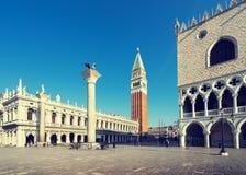 Piazza San Marko in vroege ochtend, Venetië, Italië Stock Foto's