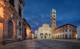 Piazza San Martino and Lucca Cathedral at dusk stock photos