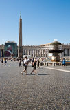 Piazza San Pietro. The South side of the Bernini Colonade in Piazza San Pietro of the Vatican City showing the Egyptian Obelisc and one of the fountains stock photography