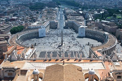 Piazza San Pietro. View from the top of the San Pietro Dome showing the Piazza San Pietro with the Colonade of Bernini and the Obelisc stock photo