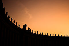 Piazza San Pietro. Vatican series of statues placed on the top of the Vatican square stock image