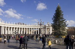 Piazza San Pietro in Rome, with its obelisk and a Christmas Tree Royalty Free Stock Image