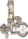 St. Peter's Basilica and Square in the Vatican Rome. St. Peter& x27;s Square is a large plaza located directly in front of St. Peter& x27;s Basilica in the vector illustration