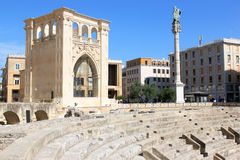 Piazza Sant'Oronzo del centro in Lecce, Italia Immagine Stock Libera da Diritti