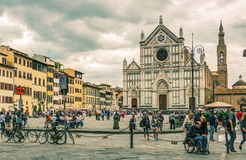 Piazza Santa Croce in Florence Uitstekende Foto Stock Afbeelding
