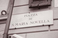 Piazza Santa Maria Novella Square Sign, Florence Royalty Free Stock Photography