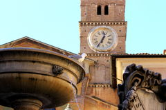 Piazza Santa Maria a Trastevere - Roma Italia Immagini Stock Libere da Diritti