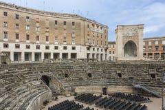 Piazza Santo Oronzo and Roman Amphitheatre in Lecce Stock Photos