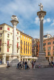 Piazza Signiori with Leone di San Marco in Vicenza Royalty Free Stock Image
