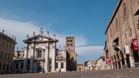 Piazza Sordello with cathedral and Ducal Palace in Mantua, Timelapse.  stock video footage