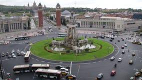 Piazza Spanien in der Barcelona-Fahrzeug-Verkehr Scenics-Zeitspanne stock video footage