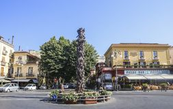 Piazza Tasso in Sorrento. Monument at Central Square in Sorrento. Italy Royalty Free Stock Images