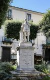 Piazza Tasso in Sorrento. Monument of Torquato Tasso. At Central Square in Sorrento, Italy Royalty Free Stock Images