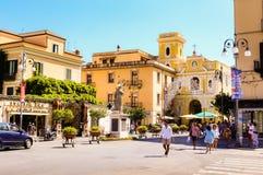 Piazza Tasso in Sorrento. Sant Antonio Abate Monument. At Central Square in Sorrento, Italy Stock Image