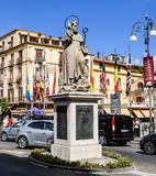 Piazza Tasso in Sorrento. Sant Antonio Abate Monument. At Central Square in Sorrento, Italy Royalty Free Stock Photos