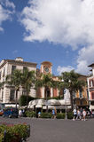 Piazza Tasso Sorrento. Statue of St Antonino in the Piazza Tasso in the Centre of Sorrento Campania stock images