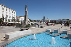 Piazza in Tavira, Portogallo Fotografia Stock