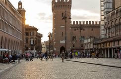 Piazza Trento Trieste in Ferrara, Italy.Square in the historic center of Ferrara, a meeting place of citizenship and tourists. Ferrara, Italy - June 10, 2017 royalty free stock photography