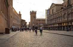 Piazza Trento Trieste in Ferrara, Italy.Square in the historic center of Ferrara, a meeting place of citizenship and tourists royalty free stock photo