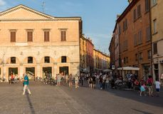 Piazza Trento Trieste in Ferrara, Italy.Square in the historic center of Ferrara, a meeting place of citizenship and tourists royalty free stock images