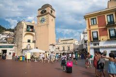 Piazza Umberto I op Capri-Eiland Stock Afbeeldingen