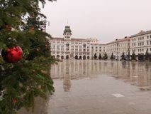 Piazza Unità a Trieste in a gloomy day of Advent royalty free stock photos