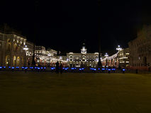 Piazza Unitaì d'Italia. Piazza dell'Unita' d'Italia, the largest european square in front of the sea during Christmas Royalty Free Stock Photos