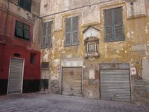Piazza valori a Genova with closed doors royalty free stock photos