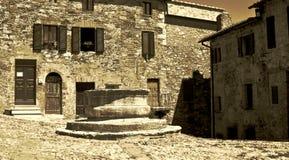 Piazza Vecchietta, Castiglione D'Orcia Obraz Stock