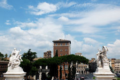 Piazza Venezia. Is the central hub of Rome, Italy, in which several thoroughfares intersect, including the Via dei Fori Imperiali and the Via del Corso Stock Photos