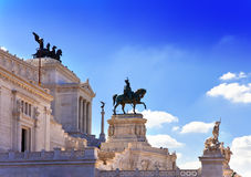 Piazza Venezia in central Rome, Italy. Monument for Victor Emenuel II.Cityscape in a sunny day Stock Images