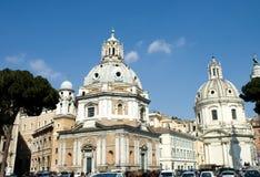 Piazza Venezia churches. The beautiful domes of the 16th century churches  S. Maria di Loreto and S. Maria di Loreto in Venezia Square, Rome, Italy Stock Images