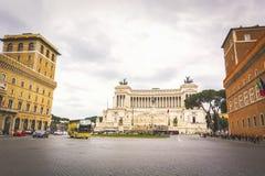 Piazza Venezia con l'altare della patria a Roma Immagini Stock Libere da Diritti
