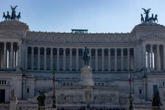 In Piazza Venezia stands the national monument dedicated to Vittorio Emanuele II royalty free stock photo