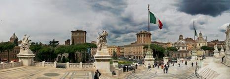 Piazza Venezia and Victor Emmanuel II Monument. Panoramic view on Piazza Venezia from Victor Emmanuel II Monument ( Monumento Nazionale a Vittorio Emanuele II) Stock Images