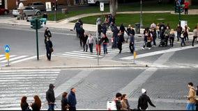 Piazza Venezia, walkway. Traffic lights. Rome, Italy. stock footage