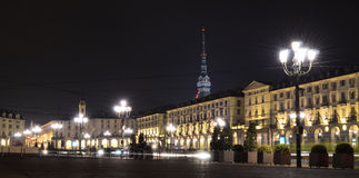 Piazza Vittorio Emanuele II in Turin. Piazza Vittorio in Turin, Italy, at night with Mole in the back Stock Image