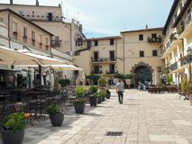 The ancient village of San Felice Circeo in central Italy. Piazza Vittorio Veneto in the historic center of the village San Felice Circeo. Lazio Region, central stock photos