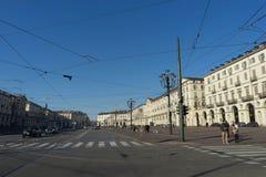 Piazza Vittorio Veneto i Turin, Piedmont - Italien, December 2017 Arkivfoto