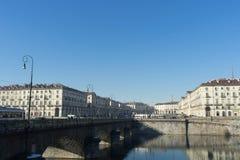 Piazza Vittorio Veneto, Turin, Italien - December 2017 Royaltyfri Bild