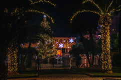 Piazza XX Settembre, the Christmas tree and the town hall. Night view  of Piazza XX Settembre located in Civitanova Marche in Marche, a region of central Italy Stock Photo