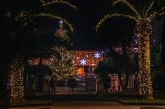 Piazza XX Settembre, l'albero di Natale ed il municipio Fotografia Stock