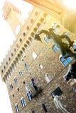 Piazzadella Signoria i den Florence, Perseus och David statyn Arkivbild
