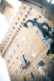 Piazzadella Signoria i den Florence, Perseus och David statyn Royaltyfria Foton
