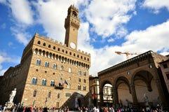 Piazzadella Signoria i det Florence centret, Italien Fotografering för Bildbyråer