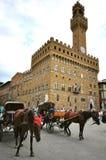 Piazzadella Signoria i det Florence centret, Italien Royaltyfri Bild
